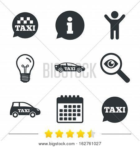 Public transport icons. Taxi speech bubble signs. Car transport symbol. Information, light bulb and calendar icons. Investigate magnifier. Vector
