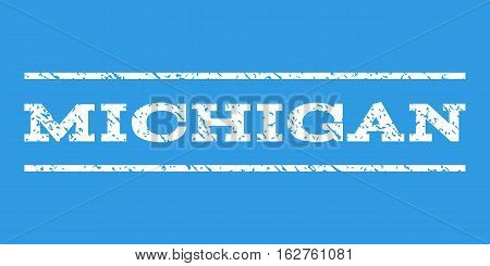 Michigan watermark stamp. Text caption between horizontal parallel lines with grunge design style. Rubber seal stamp with scratched texture. Vector white color ink imprint on a blue background.