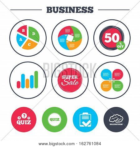 Business pie chart. Growth graph. Quiz icons. Brainstorm or human think. Checklist symbol. Survey poll or questionnaire feedback form. Questions and answers game sign. Super sale and discount buttons