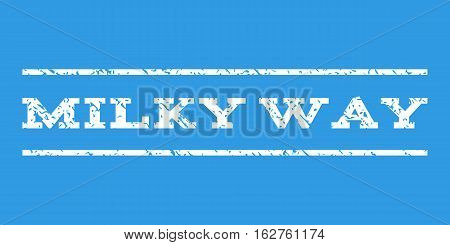 Milky Way watermark stamp. Text tag between horizontal parallel lines with grunge design style. Rubber seal stamp with scratched texture. Vector white color ink imprint on a blue background.