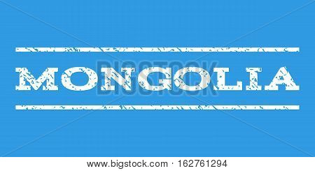 Mongolia watermark stamp. Text caption between horizontal parallel lines with grunge design style. Rubber seal stamp with dust texture. Vector white color ink imprint on a blue background.