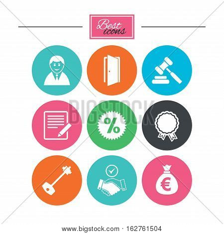 Real estate, auction icons. Home key, discount and door signs. Business agent, award medal symbols. Colorful flat buttons with icons. Vector