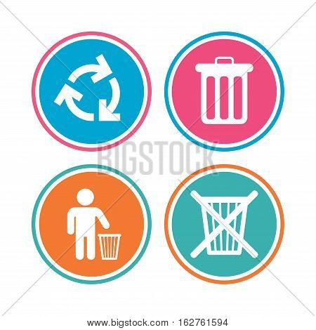 Recycle bin icons. Reuse or reduce symbols. Human throw in trash can. Recycling signs. Colored circle buttons. Vector