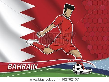 Vector illustration of football player shooting on goal. Soccer team player in uniform with state national flag of bahrain.