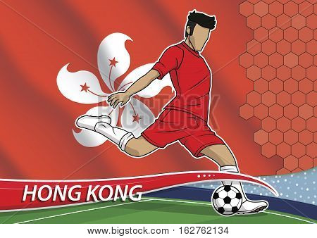 Vector illustration of football player shooting on goal. Soccer team player in uniform with state national flag of hong kong.