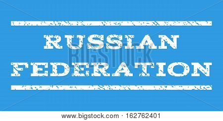 Russian Federation watermark stamp. Text caption between horizontal parallel lines with grunge design style. Rubber seal stamp with dirty texture. Vector white color ink imprint on a blue background.