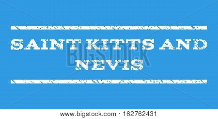 Saint Kitts and Nevis watermark stamp. Text caption between horizontal parallel lines with grunge design style. Rubber seal stamp with unclean texture.
