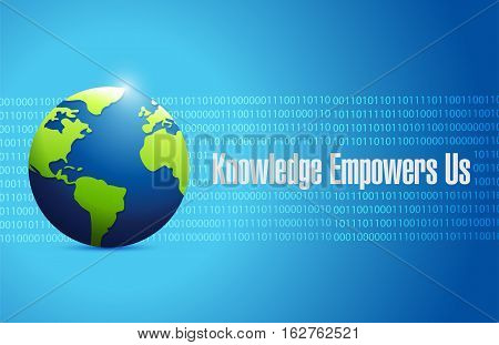 Knowledge Empowers Us Binary Globe Sign Concept