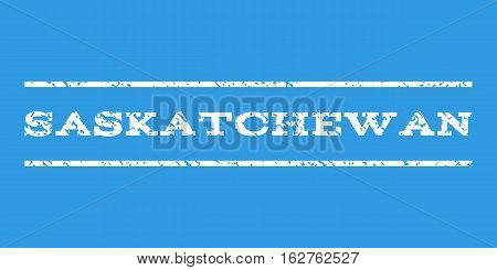 Saskatchewan watermark stamp. Text caption between horizontal parallel lines with grunge design style. Rubber seal stamp with scratched texture. Vector white color ink imprint on a blue background.