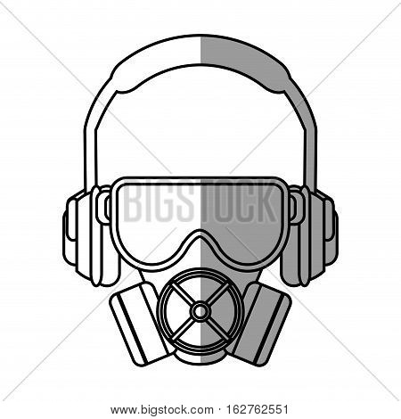 Mask glasses and headphone icon. Industrial security safety and protection theme. Isolated design. Vector illustration
