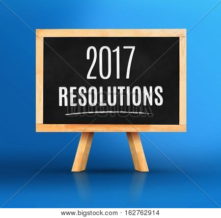 2017 New Year's Resolutions Word On Blackboard With Easel On Vivid Blue Studio Backdrop,new Year Pla