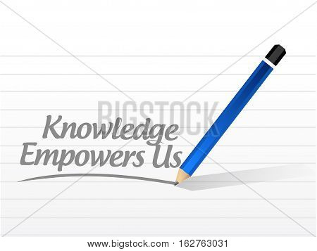 Knowledge Empowers Us Message Sign Concept