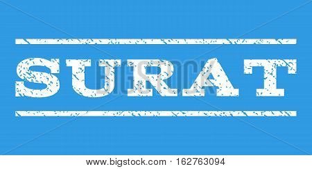 Surat watermark stamp. Text tag between horizontal parallel lines with grunge design style. Rubber seal stamp with scratched texture. Vector white color ink imprint on a blue background.