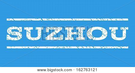 Suzhou watermark stamp. Text tag between horizontal parallel lines with grunge design style. Rubber seal stamp with unclean texture. Vector white color ink imprint on a blue background.
