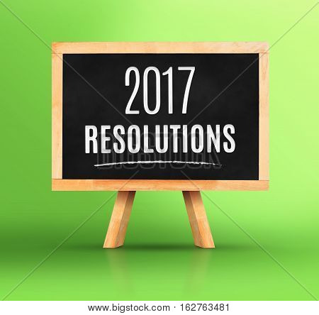 2017 New Year's Resolutions Word On Blackboard With Easel On Vivid Green Studio Backdrop,new Year Pl