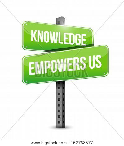 Knowledge Empowers Us Road Sign Concept