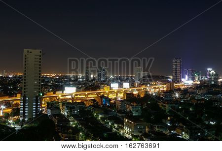 view over city of Bangkok , Thailand at nighttime
