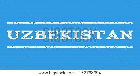 Uzbekistan watermark stamp. Text caption between horizontal parallel lines with grunge design style. Rubber seal stamp with scratched texture. Vector white color ink imprint on a blue background.