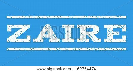 Zaire watermark stamp. Text tag between horizontal parallel lines with grunge design style. Rubber seal stamp with scratched texture. Vector white color ink imprint on a blue background.