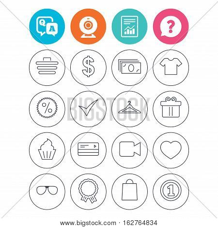 Shopping icons. Shopping cart, dollar currency and cash money. Shirt clothes, gift box and hanger. Credit or debit card. Report document, question and answer icons. Web camera sign. Vector