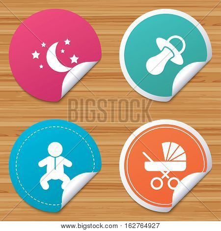 Round stickers or website banners. Moon and stars symbol. Baby infants icon. Buggy and dummy signs. Child pacifier and pram stroller. Circle badges with bended corner. Vector