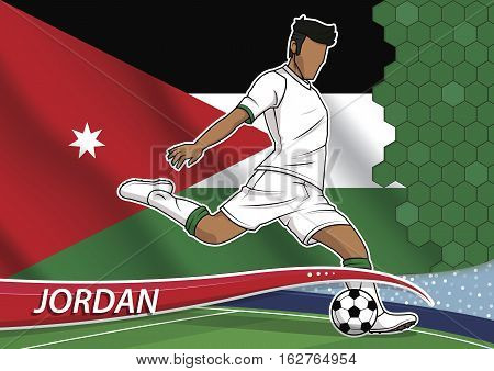 Vector illustration of football player shooting on goal. Soccer team player in uniform with state national flag of jordan.