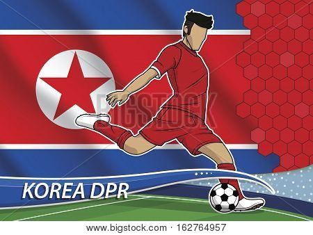 Vector illustration of football player shooting on goal. Soccer team player in uniform with state national flag of north korea.