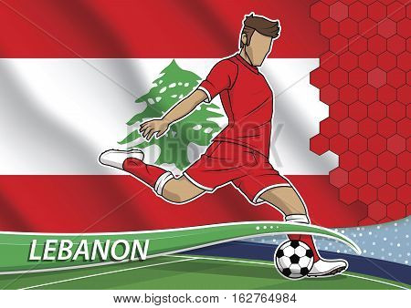 Vector illustration of football player shooting on goal. Soccer team player in uniform with state national flag of lebanon.