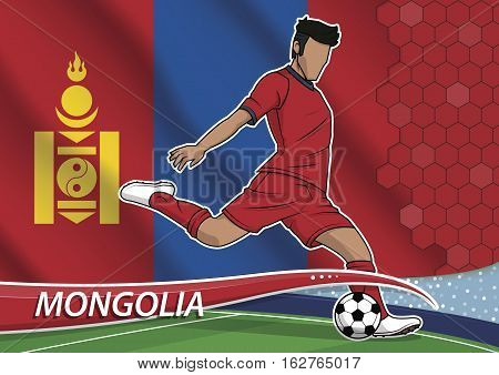 Vector illustration of football player shooting on goal. Soccer team player in uniform with state national flag of mongolia.