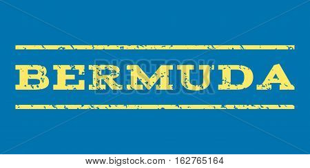 Bermuda watermark stamp. Text caption between horizontal parallel lines with grunge design style. Rubber seal stamp with scratched texture. Vector yellow color ink imprint on a blue background.