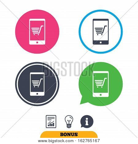 Smartphone with shopping cart sign icon. Online buying symbol. Report document, information sign and light bulb icons. Vector