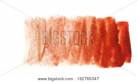 Ochre red watercolor background. The gradient transition of color from deep red to light red. Design elements. Painting. Grunge colorful background on watercolor paper.