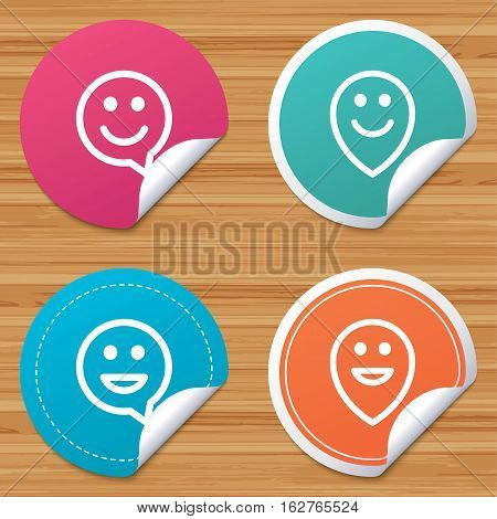 Round stickers or website banners. Happy face speech bubble icons. Smile sign. Map pointer symbols. Circle badges with bended corner. Vector