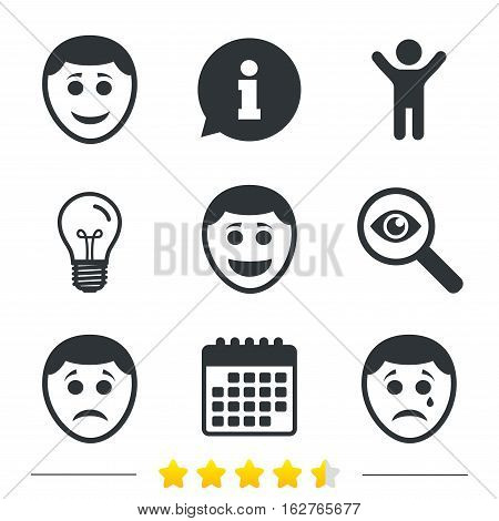 Human smile face icons. Happy, sad, cry signs. Happy smiley chat symbol. Sadness depression and crying signs. Information, light bulb and calendar icons. Investigate magnifier. Vector
