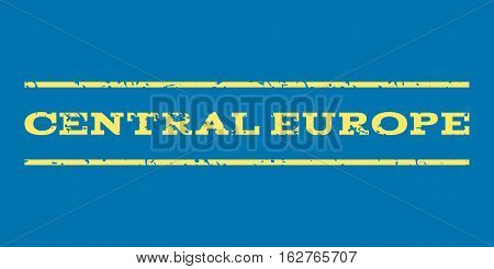 Central Europe watermark stamp. Text caption between horizontal parallel lines with grunge design style. Rubber seal stamp with dust texture. Vector yellow color ink imprint on a blue background.