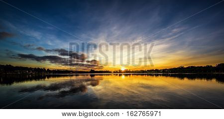 Pano of  Sunset over lake with reflections