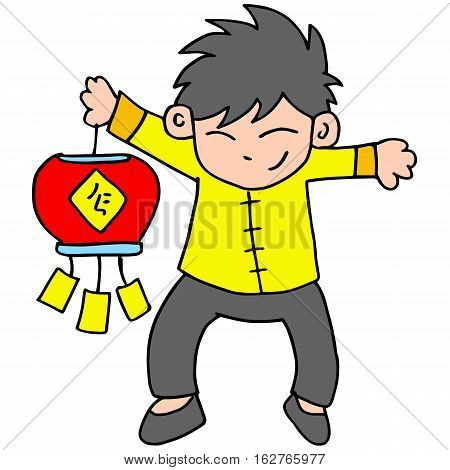 Character of boy with lampion vector illustration
