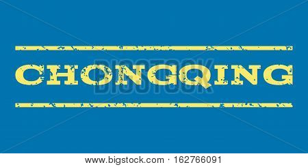 Chongqing watermark stamp. Text tag between horizontal parallel lines with grunge design style. Rubber seal stamp with unclean texture. Vector yellow color ink imprint on a blue background.