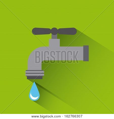 Water tap with drop falling icon over green background. colorful design. vector illustration