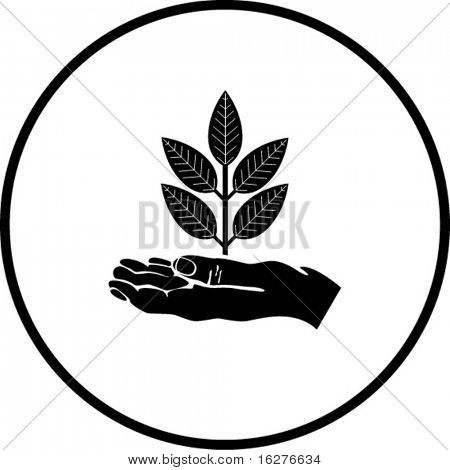 hand and plant symbol