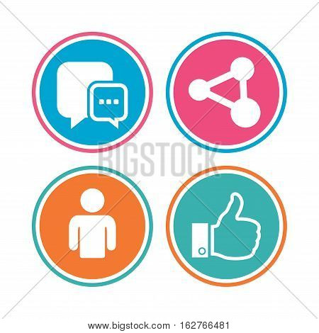 Social media icons. Chat speech bubble and Share link symbols. Like thumb up finger sign. Human person profile. Colored circle buttons. Vector