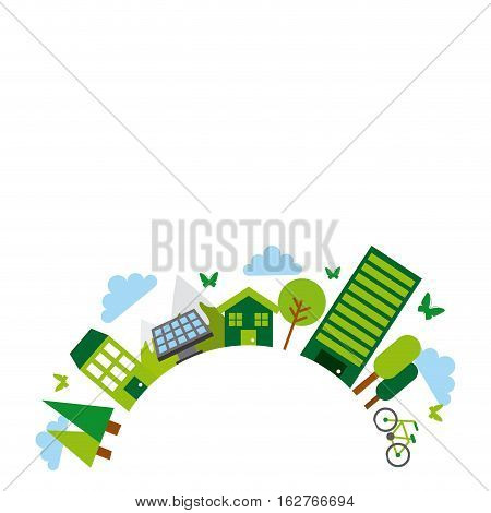 green idea and ecology icons around circle shape over white background. colorful design. vector illustration