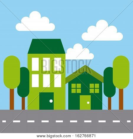 green city icon. colorful design. ecology and green idea concept. vector illustration