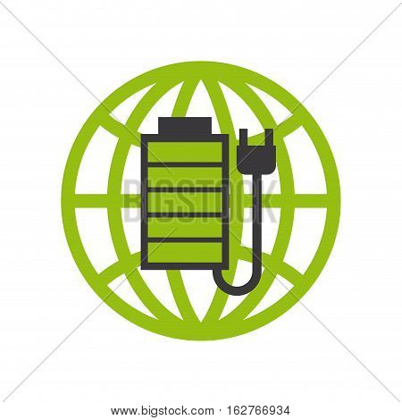 global sphere with battery and plug icon over white background. colorful design. vector illustration