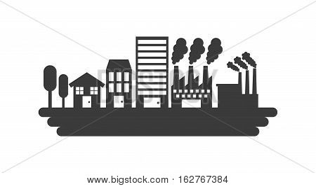 silhouette of house and factory building icon over white background. vector illustration