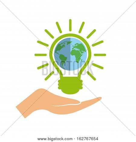 hand with green bulb light  with earth planet icon over white background. colorful design. vector illustration