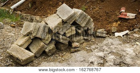 the bricks fall apart photo taken in Bogor Indonesia java