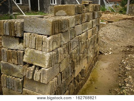 Piles of bricks to start building a house photo taken in Bogor Indonesia java
