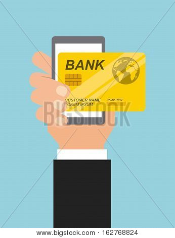 hand holding a smartphone device with credit card icon over blue background. colorful design. vector illustration