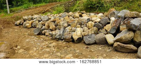 a mound of rocks for building roads photo taken in Bogor Indonesia java